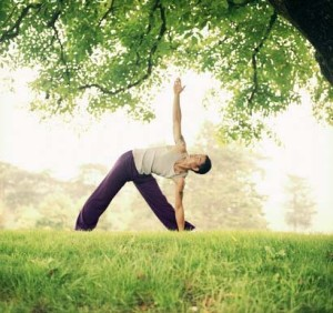 Man practicing yoga in park, standing in triangle pose, ground view